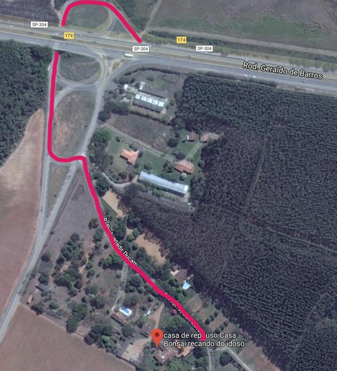 Desenho do caminho para Casa Bonsai